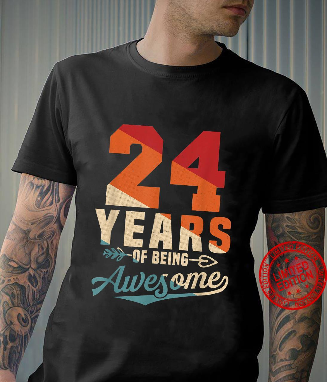 24 Years Of Being Awesome Retro 24th Birthday Shirt