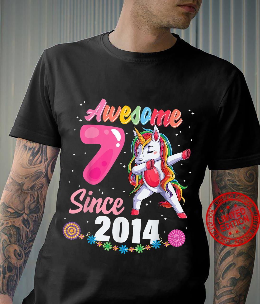 7 year old girl birthday party 7th awesome dabbing unicorn Shirt